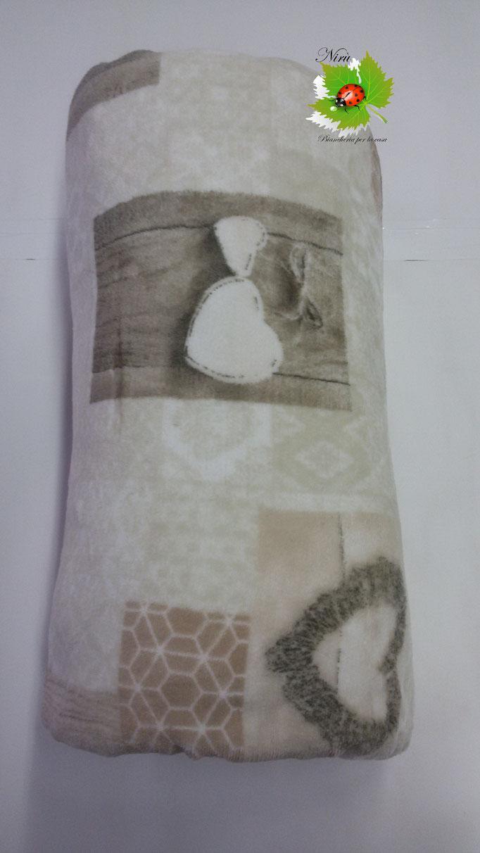 Plaid in pile agnellato caldissimo stampati matrimoniale 200x230 cm. Col.Tortora.A101