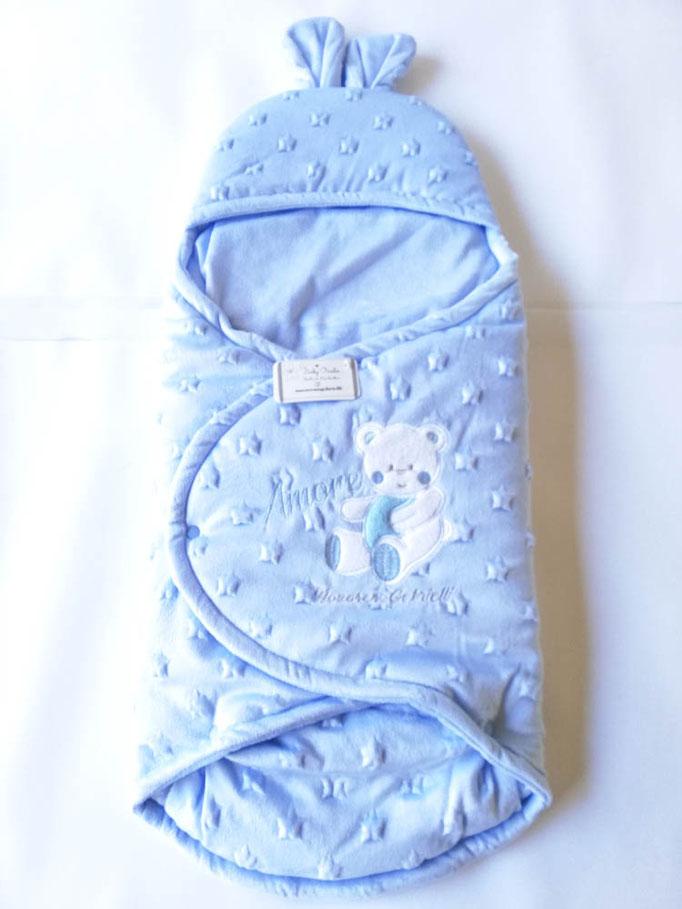 Baby sacco per neonati in morbida e calda ciniglia di Nazareno Gabrielli. Col.Celeste. C074