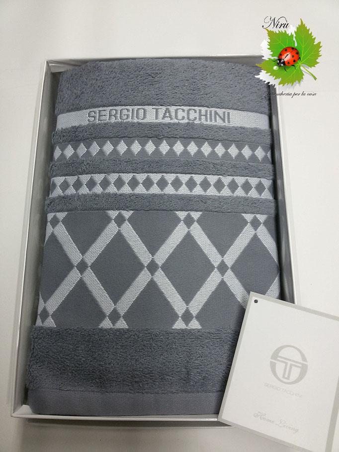 Set asciugamano viso+ospite Sergio Tacchini in spugna in Cotone.Col.Antracite Art.A508