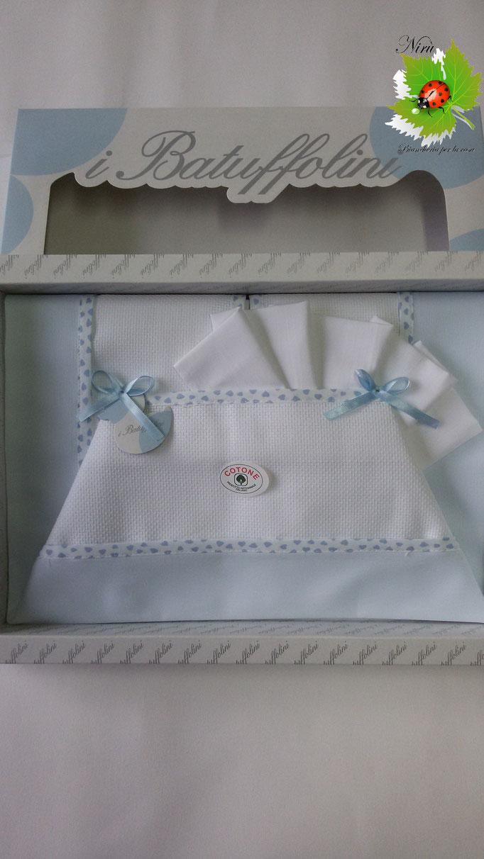 Completo lenzuola copriletto per lettino baby lettino culla Batuffolini con tela Aida 100% Cotone. Col.Celeste.A800