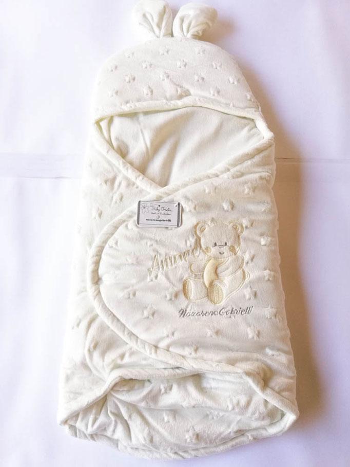 Baby sacco per neonati in morbida e calda ciniglia di Nazareno Gabrielli. Col.Panna. C074