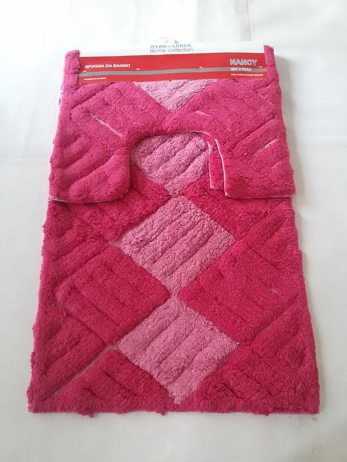 Parure tappeto bagno 3 pezzi in spugna di cotone Rosa/Fucsia Art.A260