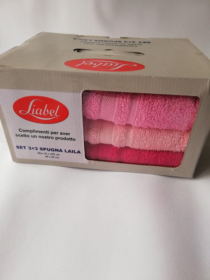 Set 3+3 asciugamani viso e ospite Liabel tinta unita. Col.Rosa, rosa chiaro, fucsia. Art.Laila. B516