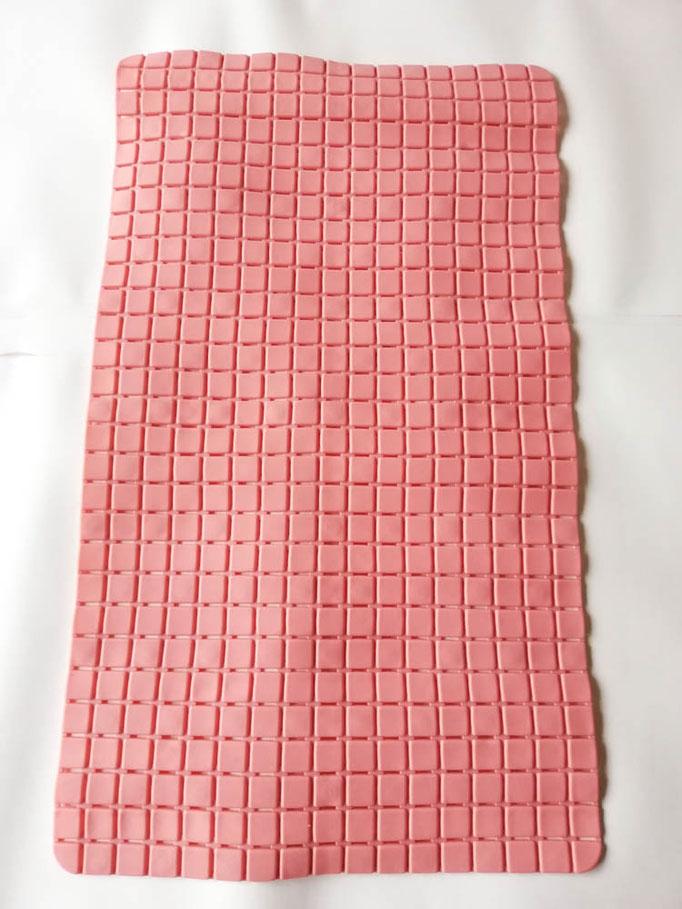 Tappeto doccia/vasca antiscivolo di forma rettangolare con quadratini tinta unita 40x70 cm. Col.Rosa. B781