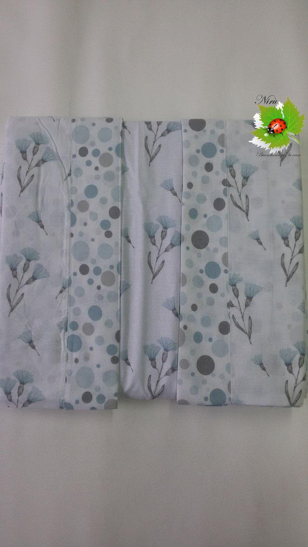 Completo lenzuola con fiori di Regina Schrecker per letto matrimoniale due piazze. Col.Azzurro.B203