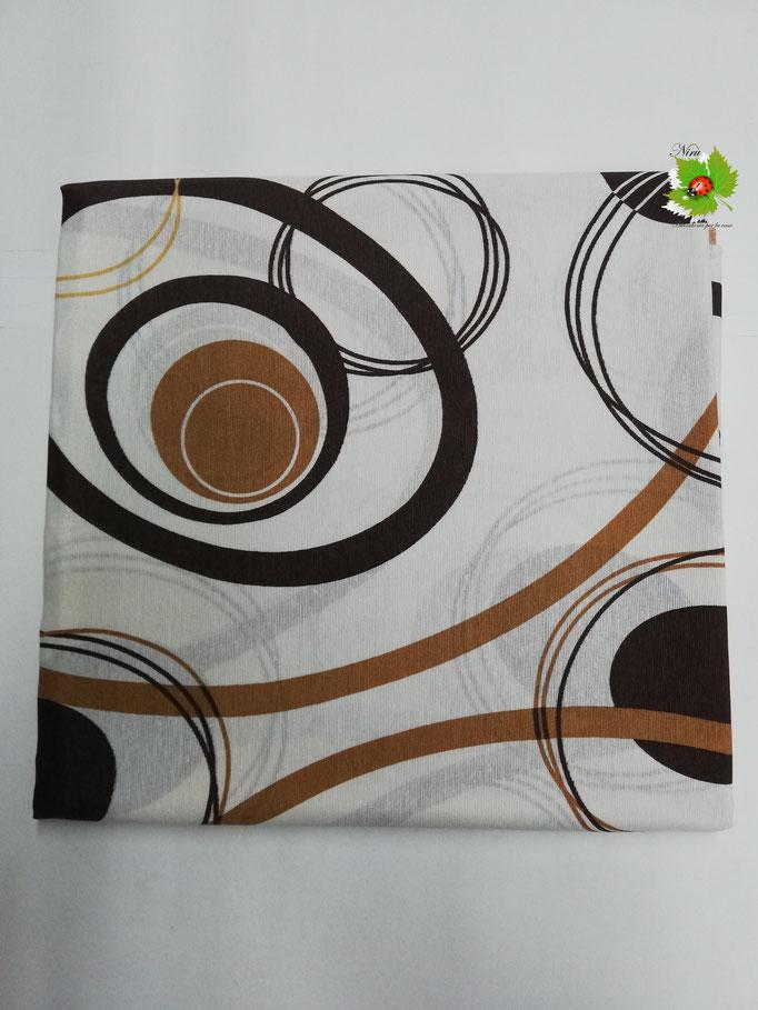 Scampolo tessuto di cotone Loneta a fantasia con cerchio 280x280 cm. Col.Marrone. B272