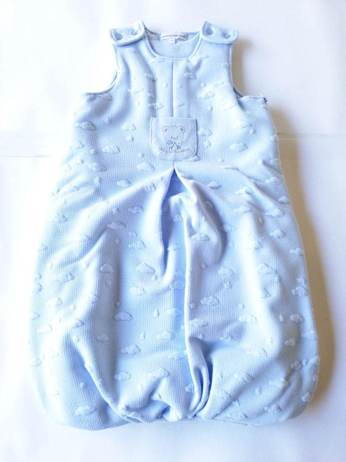Baby sacco per neonati in cotone ricamato T&R baby. Col.Celeste. C073