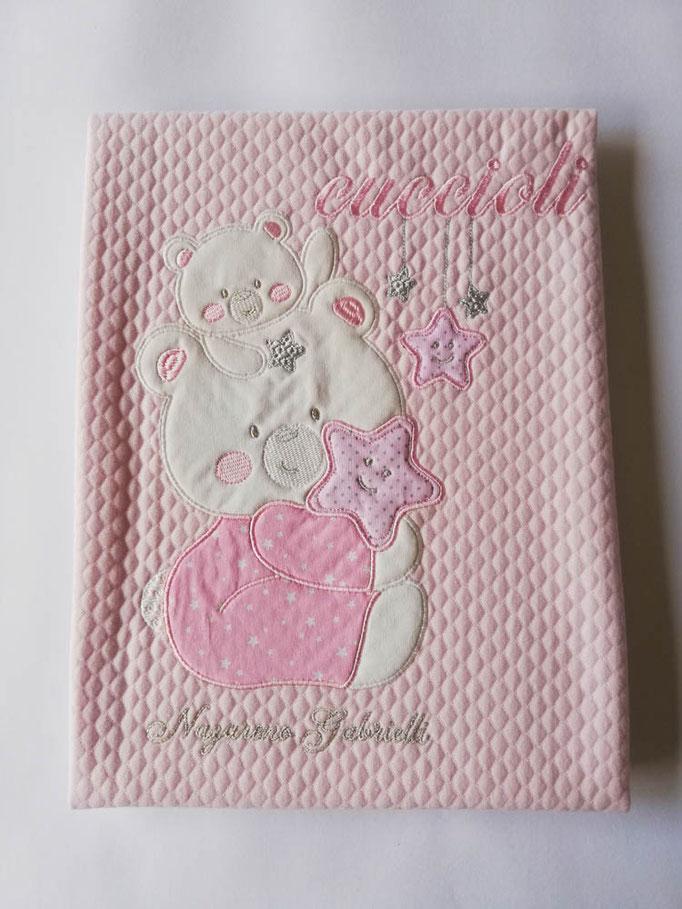 Copertina coperta culla passeggino neonato in piquet di puro cotone. Col.Rosa. C041