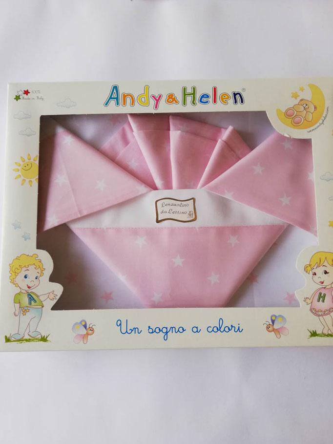 Completo lenzuola lettino con disegno stelle stampato Andy e Helen. Col.Rosa. C021