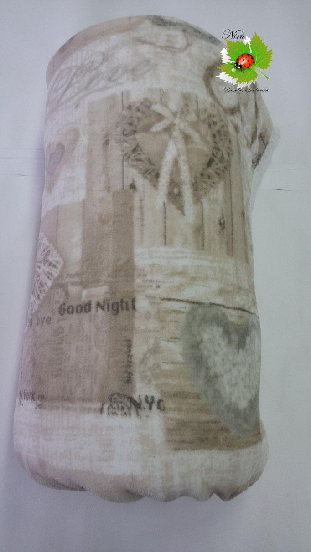 Plaid in pile agnellato caldissimo stampati matrimoniale 200x230 cm. Col.Beige.A348