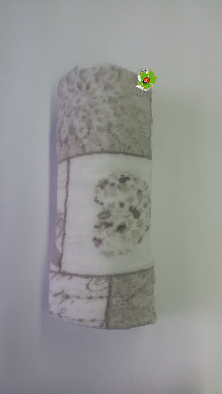 Coperta Plaid in pile patchwork singolo 130x160 cm. Col.Grigio. Art.A618