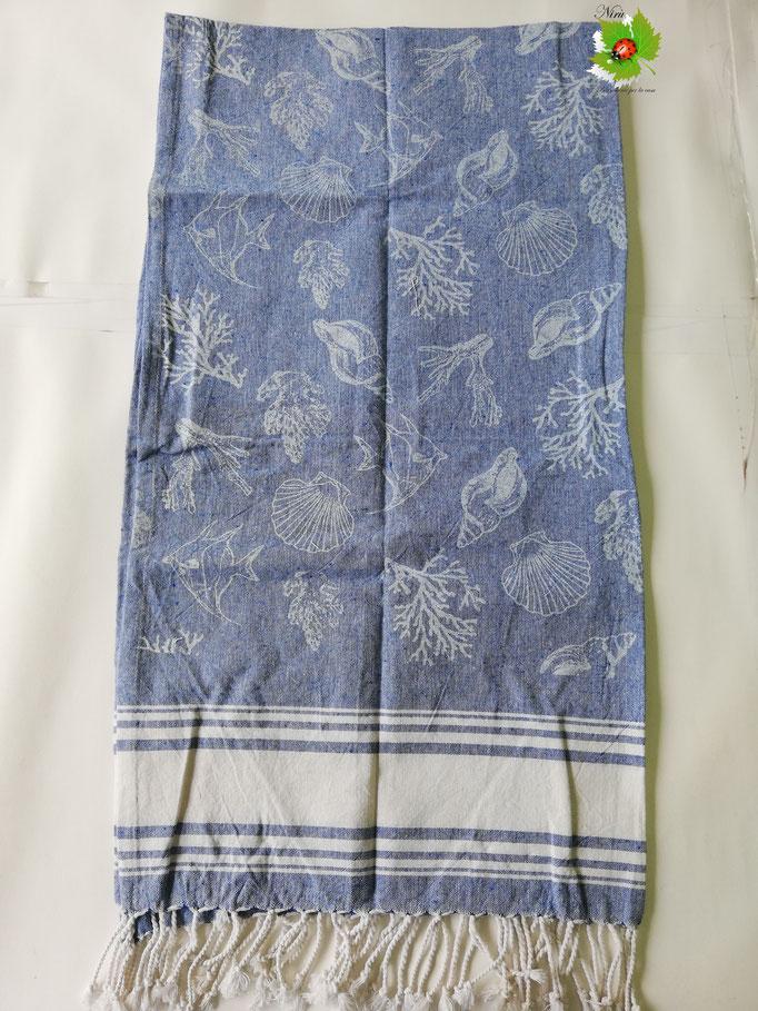 Telo mare Pareo con frange in cotone con disegno interno. Col.Blu. B225