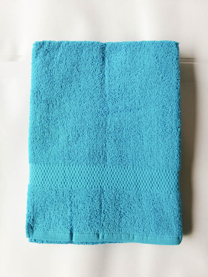 Asciugamano Liabel 1+1 asciugamano viso e ospite in spugna di cotone tinta unita. Col.Azzurro.B750