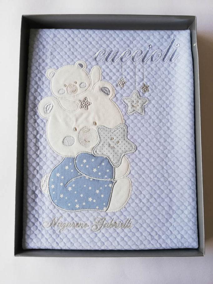 Copertina coperta culla passeggino neonato in piquet di puro cotone. Col.Celeste. C041