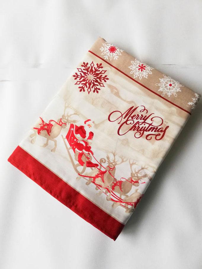 Tovaglia natalizia da 18 posti 140x360 cm. Art. Bianca. Col.Fondo bianco con bord rosso.  B651