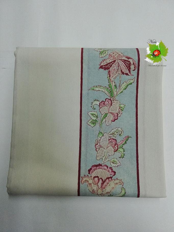 Scampolo tessuto di cotone Loneta a fantasia a fiore 280x280 cm. Col.Tinta unita con fascia a fiore.B284