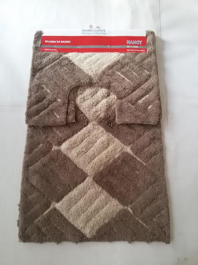 Parure tappeto bagno 3 pezzi in spugna di cotone Marrone/Beige Art.A260
