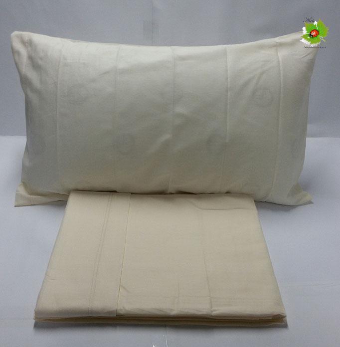Completo lenzuola letto singolo a tinta unita Kiro Oro.Col.Panna ART.A055