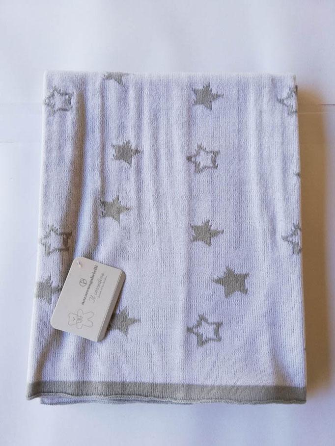 Scialle/copertina culla carrozzina in lana rasata double face con disegno stelle. Col.Grigio. C085