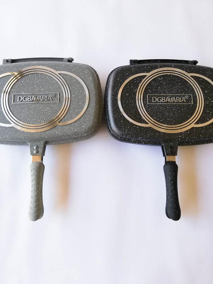 Padella doppia bistecchiera in pietra lavica B.G Bavaria antiaderente. B550