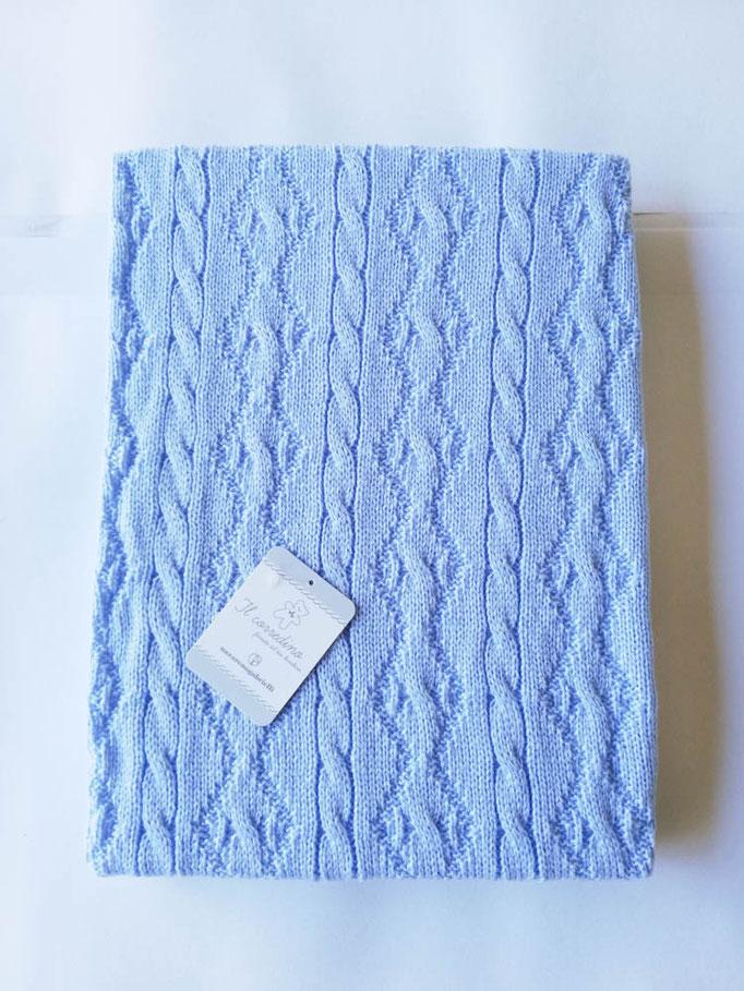 Scialle/copertina culla carrozzina in lana doppia treccia Nazareno Gabrielli. Col.Celeste. C083