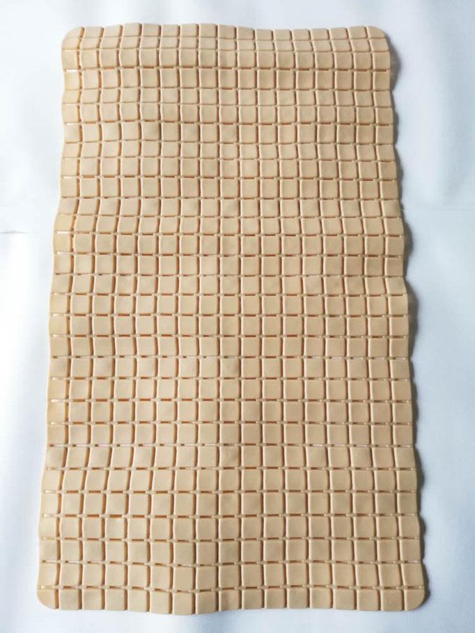 Tappeto doccia/vasca antiscivolo di forma rettangolare con quadratini tinta unita 40x70 cm. Col.Beige. B781