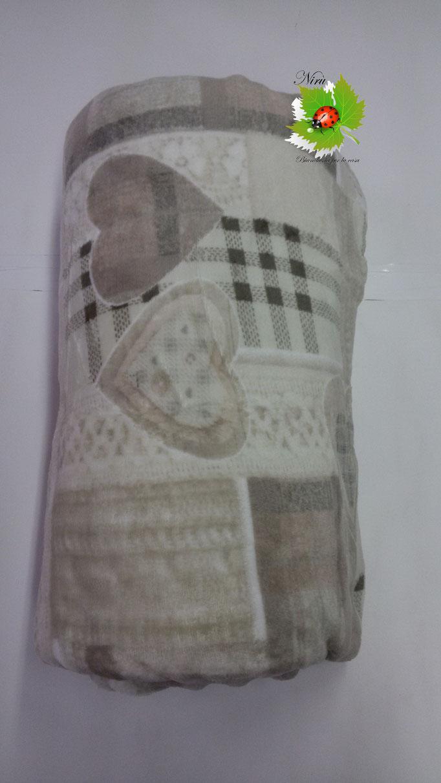 Plaid in pile agnellato caldissimo stampati matrimoniale 200x230 cm. Col.Beige.A511