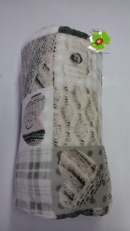 Plaid in pile agnellato caldissimo stampati matrimoniale 200x230 cm. Col.Beige.N200