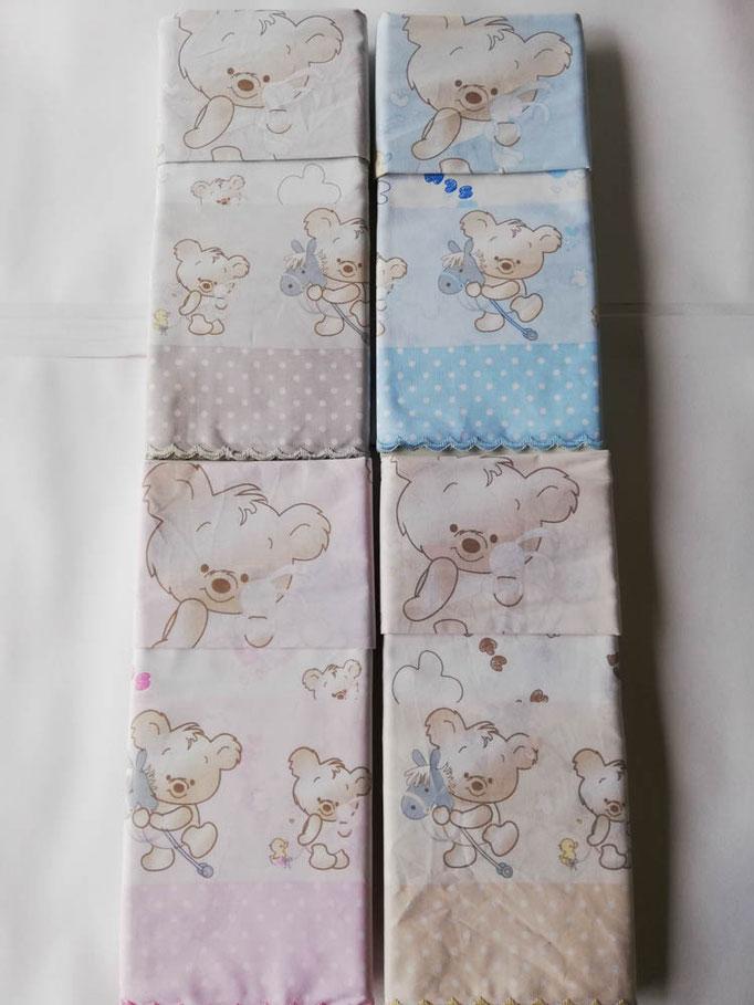 Completo lenzuola lettino (culla) con doghe con smerlatura con stampa orsetti . C008