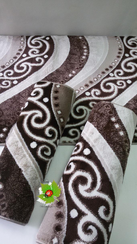 Set parure tappeto + scendiletto 3 pezzi rettangolare lurex disegno ondulare. B165