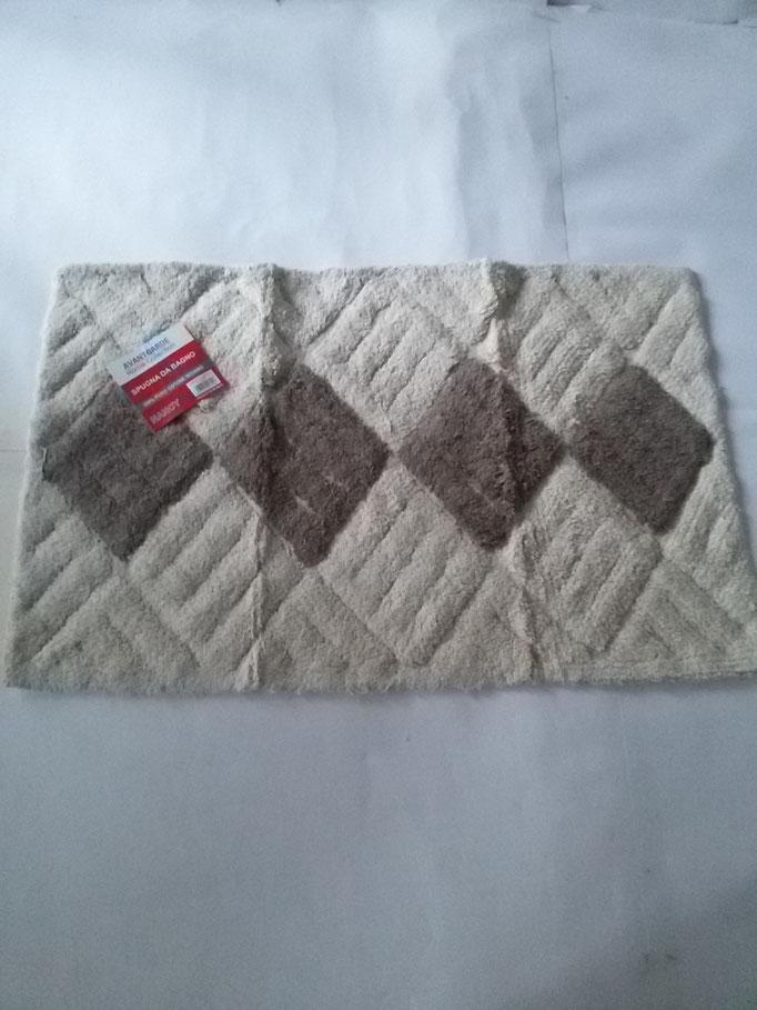 Tappeto bagno spugna di cotone 55x110 cm Panna/Marrone Art.A331
