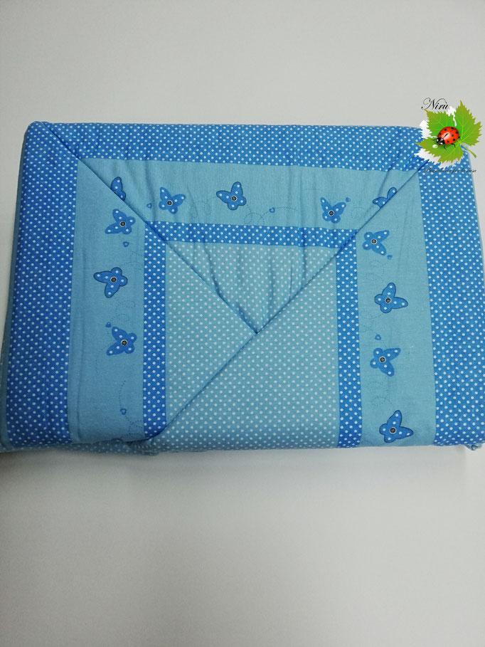 Completo lenzuola di flanella con farfalle matrimoniale.Art. Cortina. Col.Celeste. B395