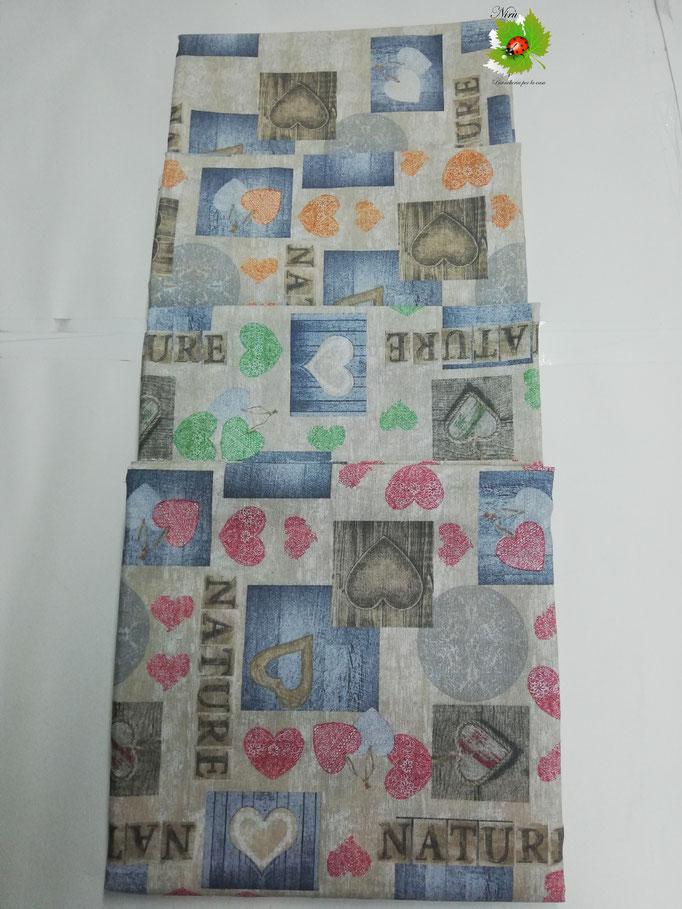 Scampolo tessuto di cotone Loneta a fantasia con cuori 280x280 cm. B271