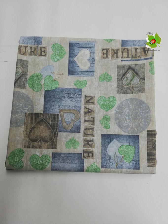 Scampolo tessuto di cotone Loneta a fantasia con cuori 280x280 cm. Col.Verde. B271