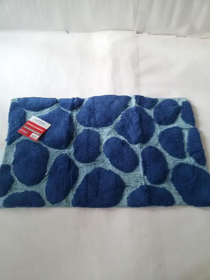 Tappeto bagno spugna di cotone 55x110 cm Celeste/Blu Art.A332
