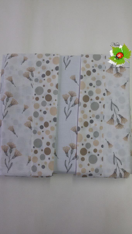 Completo lenzuola con fiori di Regina Schrecker per letto matrimoniale due piazze. Col.Tortora.B203