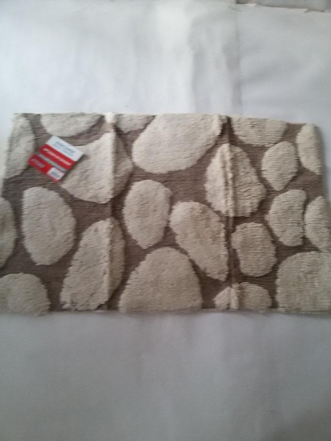 Tappeto bagno spugna di cotone 55x110 cm Panna/Marrone Art.A332