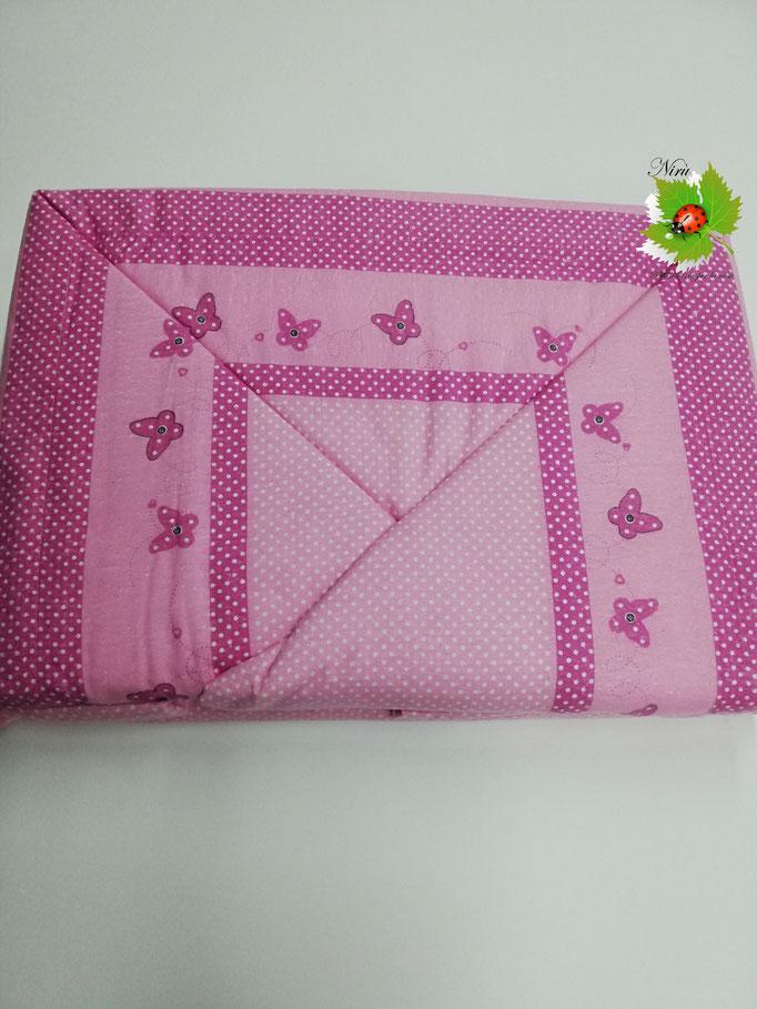Completo lenzuola di flanella con farfalle matrimoniale.Art. Cortina. Col.Rosa. B395