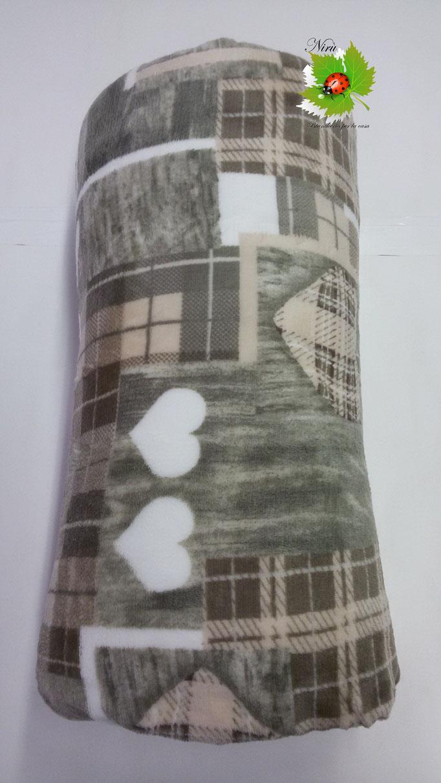 Plaid in pile agnellato caldissimo stampati matrimoniale 200x230 cm. Col.Fango.A512