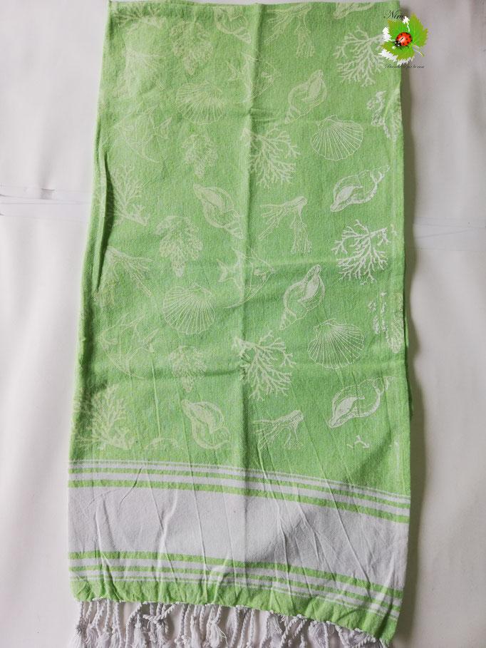 Telo mare Pareo con frange in cotone con disegno interno. Col.Verde. B225