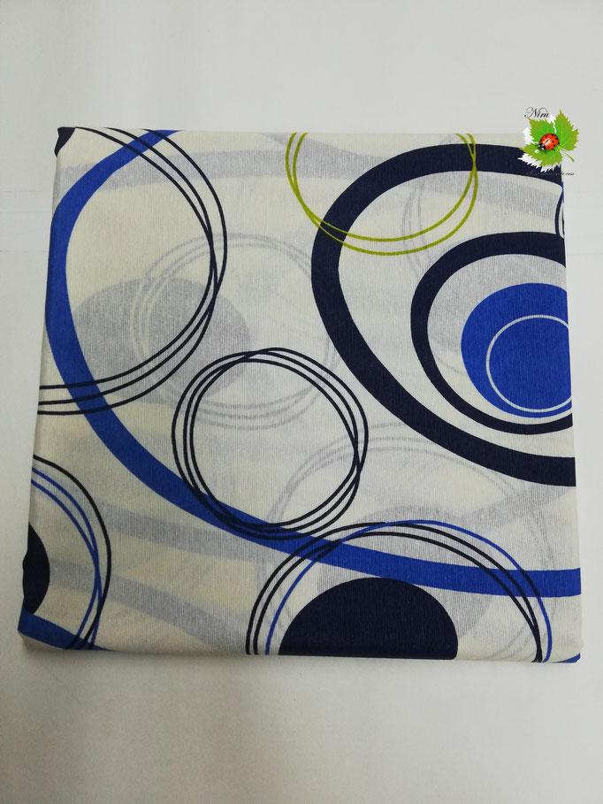 Scampolo tessuto di cotone Loneta a fantasia con cerchio 280x280 cm. Col.Blu. B272
