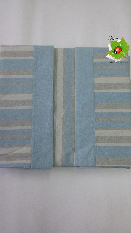 Completo lenzuola con fascia di Regina Schrecker per letto matrimoniale due piazze. Col.Celeste.B202