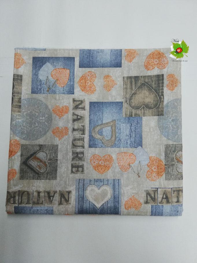 Scampolo tessuto di cotone Loneta a fantasia con cuori 280x280 cm. Col.Arancio. B271