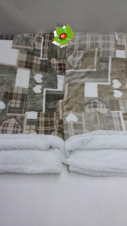 Plaid in pile agnellato caldissimo stampati matrimoniale 200x230 cm. A512
