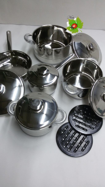 Batteria di pentole Bavaria in acciaio inox 12 pezzi cucina dietetica e informe. B45