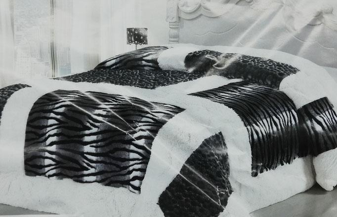Trapunta ecopelliccia zebrata invernale matrimoniale. B316