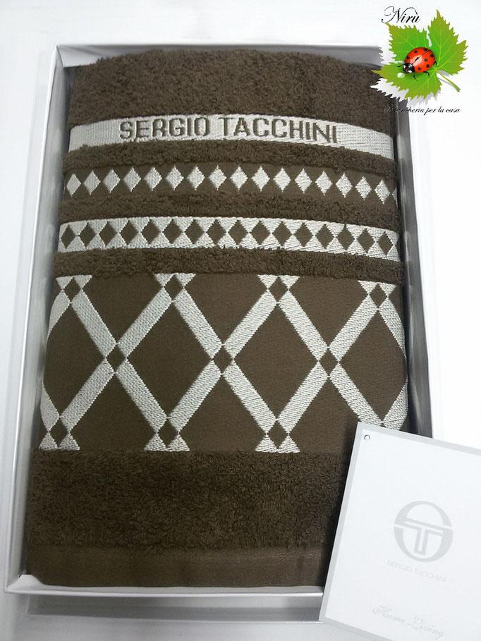 Set asciugamano viso+ospite Sergio Tacchini in spugna in Cotone.Col.Marrone Art.A508