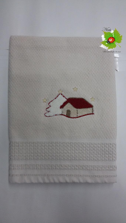 Set asciugamano spugna 1+1 natalizio art.Ghiaccioli asciugamano + ospite. Col.Panna.B75
