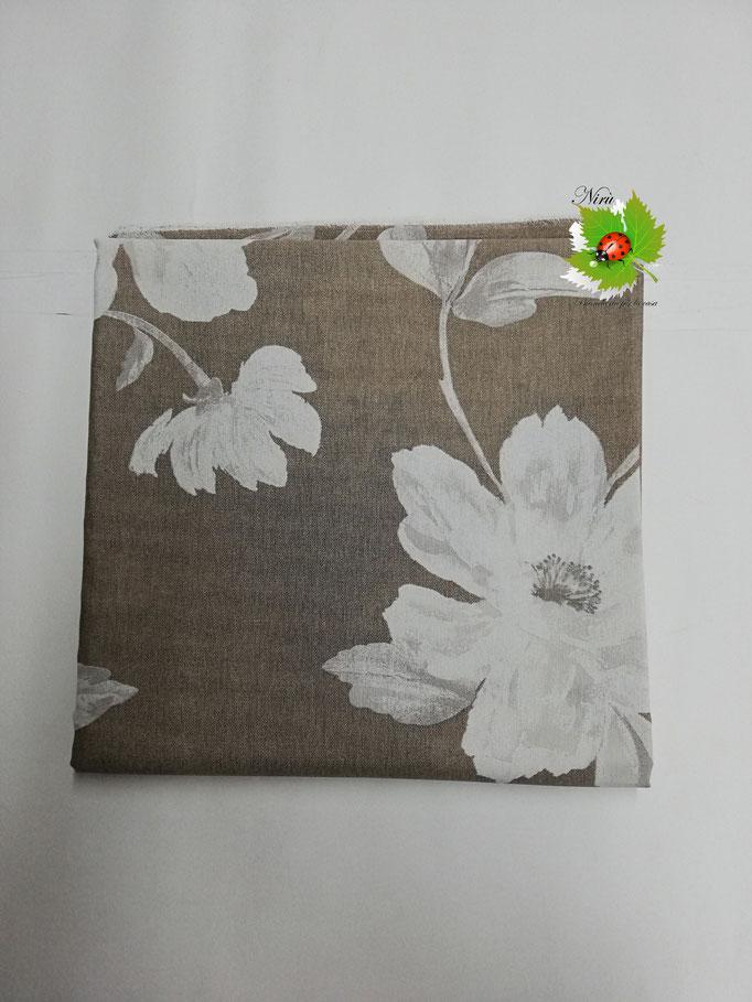 Scampolo tessuto di cotone Loneta a fantasia con fiore 280x280 cm. Col.Beige. B273