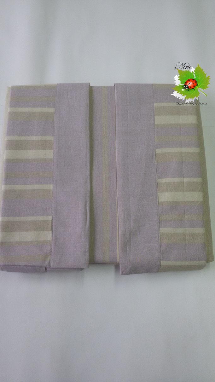 Completo lenzuola con fascia di Regina Schrecker per letto matrimoniale due piazze. Col.Lilla.B202